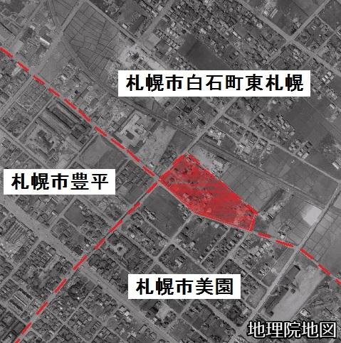 空中写真 1961年 札幌市白石町・豊平・美園町界 町名加筆