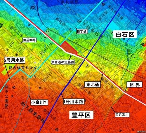 色別標高図 豊平区・白石区境特異点 用水路、小泉川加筆