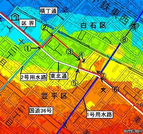 美園 地理的特異点 色別標高図