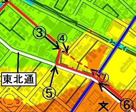 現在図×標高図 白石区東札幌側 もう一つの特異点