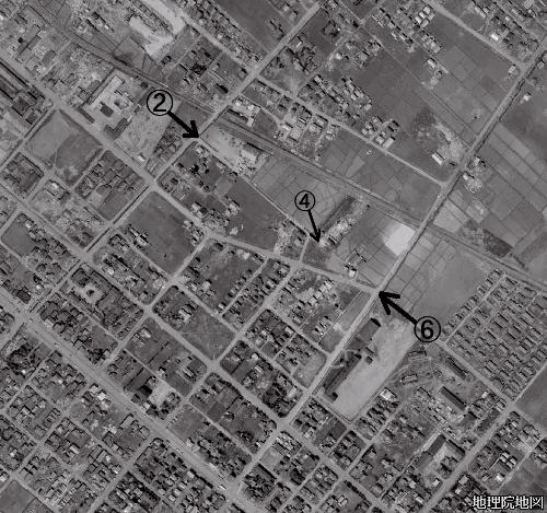 空中写真1961年 美園特異点②④⑥ 旧東北通