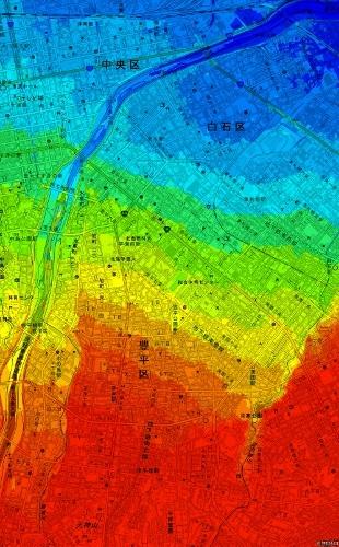 色別標高図 札幌扇状地平岸面 10m未満から3mごと46m以上まで14色段彩