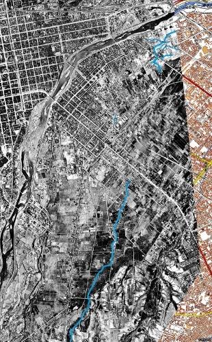 空中写真1948年米軍 札幌扇状地平岸面 小泉川?