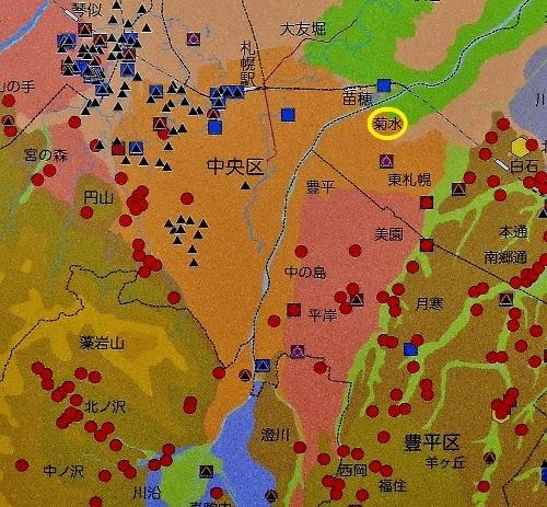 札幌市埋蔵文化財センター展示 遺跡分布図 トイシカラメム位置