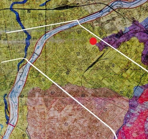 土地条件図 札幌扇状地 トイシカラメムの位置