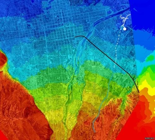 札幌扇状地 色別標高図×1948年空中写真 小泉川河道