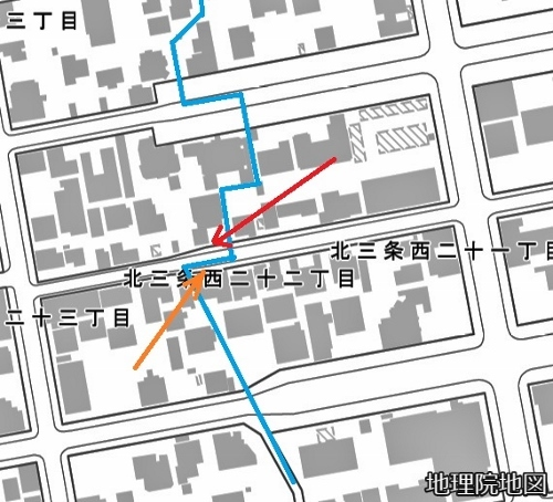 現在図 北3条西21丁目、22丁目 丁目界
