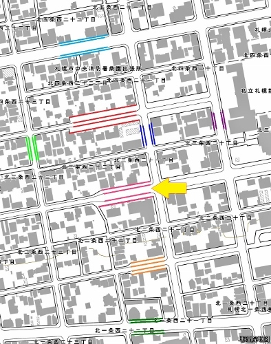 現在図 市道北3条線とその周辺の道路の幅員