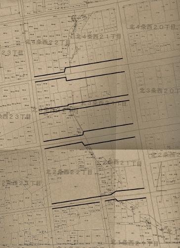 地番図 北1-4条西20-22丁目 西21-2丁目 道路加筆