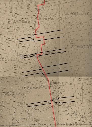 地番図 北1-4条西20-22丁目 西21-2丁目 道路、丁目界加筆