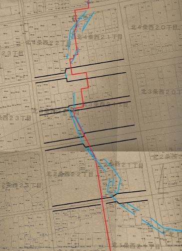 地番図 北1-4条西20-22丁目 西21-2丁目 道路、丁目界、特異地割加筆