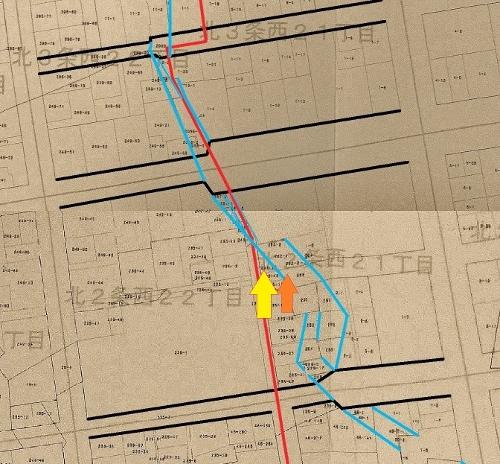 地番図 北2条西21、22丁目付近