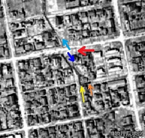 空中写真1948年 北2条西21丁目、22丁目境目付近