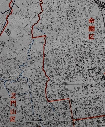 札幌市行政区域図 1957年 桑園区、北円山区境目あたり