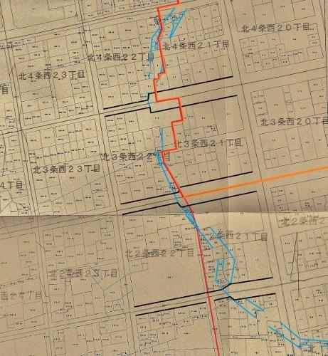 地番図 北2条西21、22丁目付近 丁目界、地区界