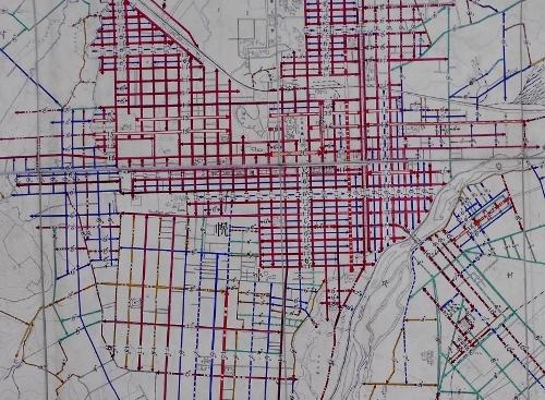 札幌市平面図 道路幅員図 1927年 札幌市中心部