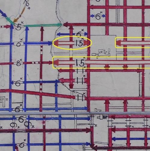 札幌市平面図 道路幅員図 1927年 北3条西21丁目、22丁目付近
