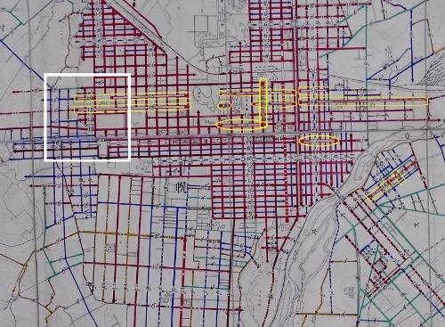 札幌市平面図 道路幅員図 1927年 札幌市中心部 15間以上の道路加筆