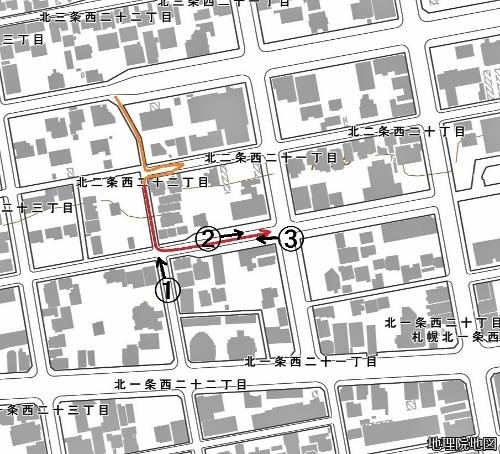 現在図 北2条西21~22丁目 市道北2条線