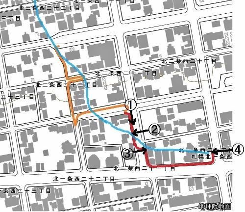 現在図 西21丁目線、西20丁目線 北1条 川跡加筆