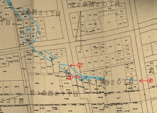 現況地番図 北1条西21丁目、西20丁目 特異地割加筆
