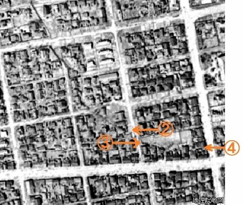 空中写真1948年 北1条西21丁目、西22丁目