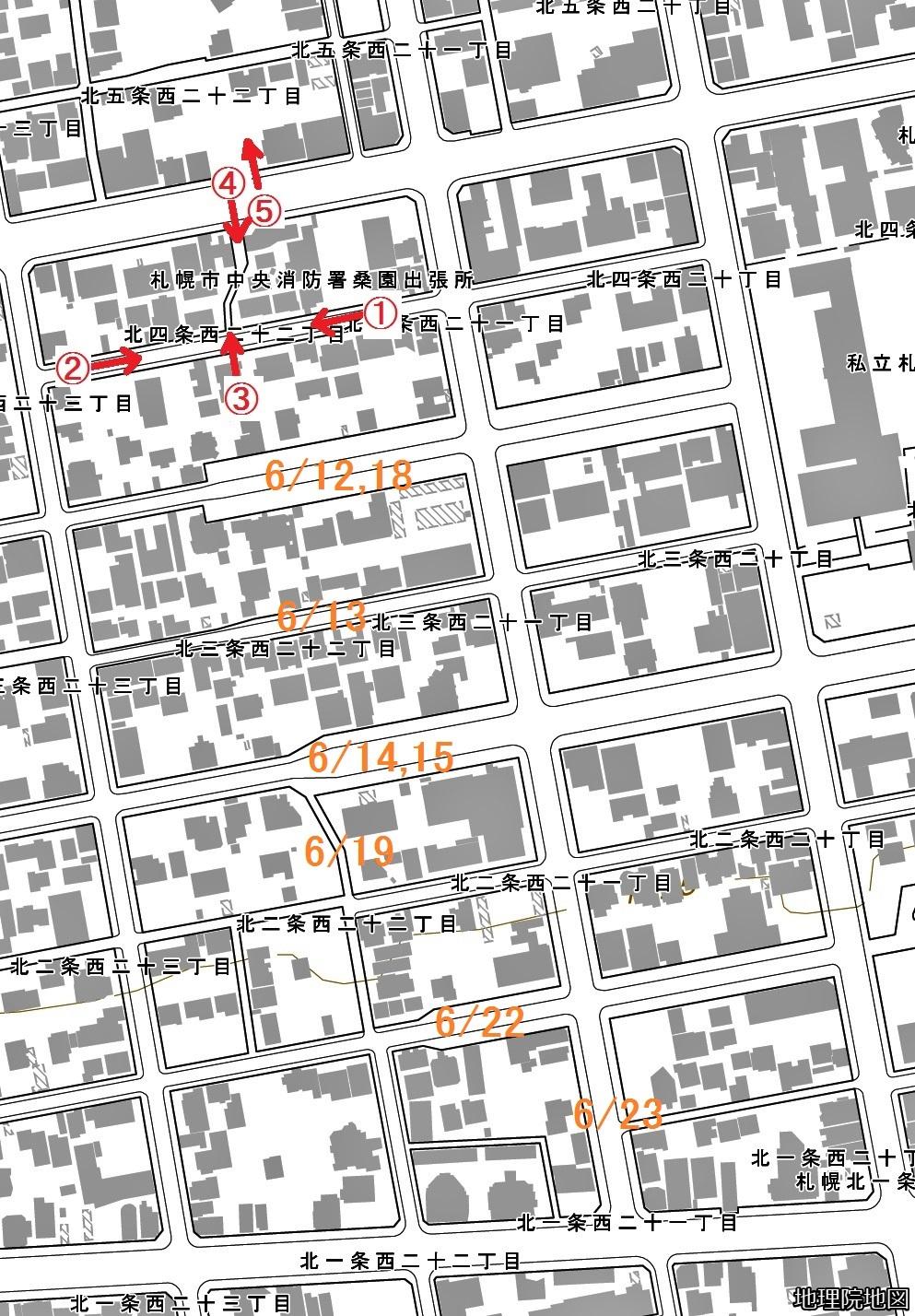 現在図 北1~5条西21~22丁目 北4条中通西線