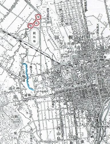 大正5年地形図「札幌」 札幌区、藻岩村境界付近 川