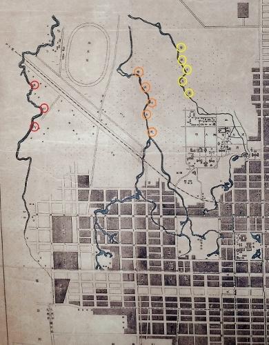 札幌市街之図大正7年 札幌区、藻岩村境界付近 琴似川