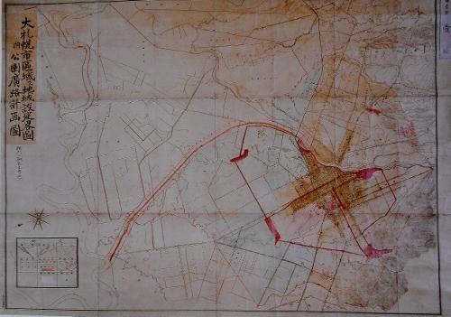 大札幌市区域及地域設定略図附公園広路計画図1925年