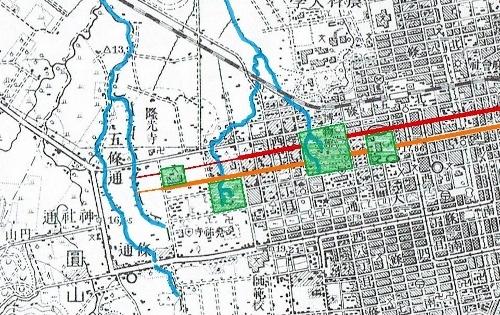 大正5年地形図 北3条線、北4条線