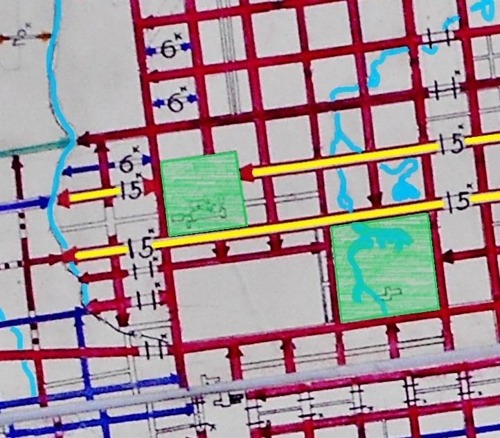 道路幅員図1927年 北3条線、北4条線 現知事公館付近