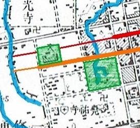 大正5年地形図 北3条線、北4条線 現知事公館付近
