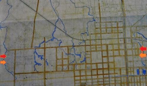 明治23年札幌市街之図 北3条線、北4条線