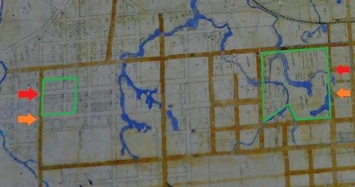 明治23年札幌市街之図 北3条線、北4条線 植物園、二中