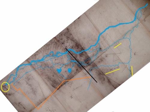 上白石村の図 方位北を真上に調整 川を着色