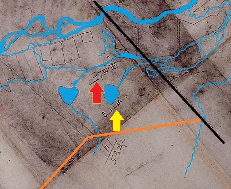 上白石村の図 方位北を真上に調整 トイシカラメムあたり拡大