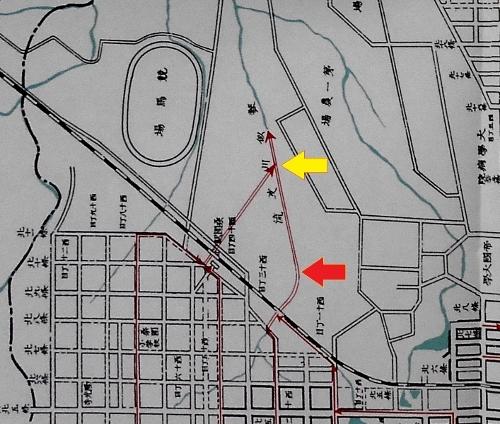 札幌市下水道事業概要1931年折込地図(西13丁目線のあたり抜粋)