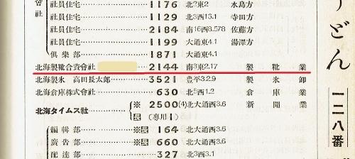 札幌郵便局電話番号簿1934年 北海製靴