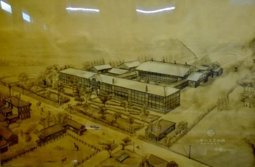 白石小学校郷土資料室-3 旧校舎俯瞰図