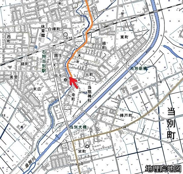現在図 当別町元町 パンケチュウベシナイ川河畔 古道