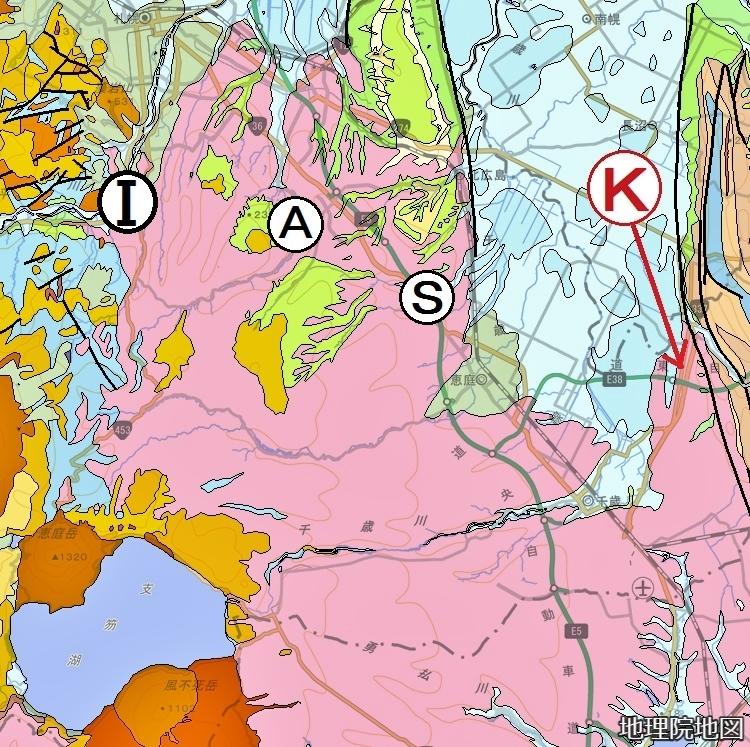 シームレス地質図 札幌軟石採掘地、千歳市キウス