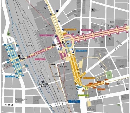名古屋駅周辺 地下街地図