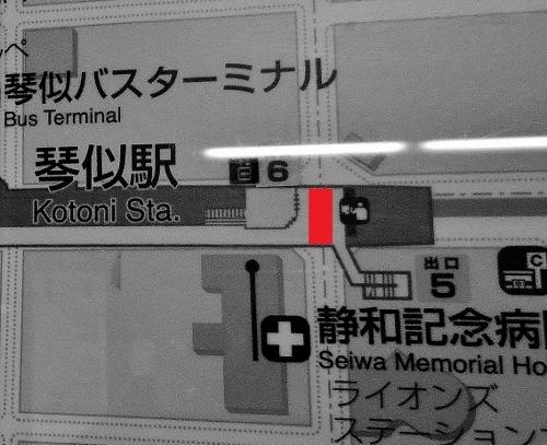 地下鉄琴似駅コンコース 案内図 天井の低い箇所