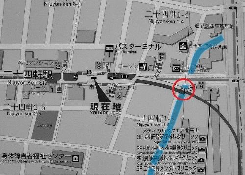 地下鉄二十四軒駅 案内図 6番出口階段の位置
