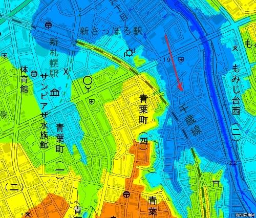 色別標高図 下野幌まるやま公園