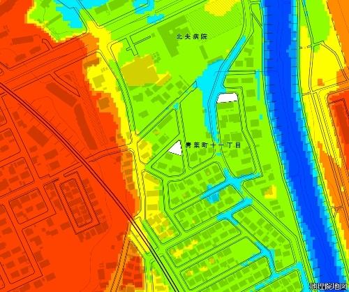 色別標高図 下野幌まるやま公園 下野幌のっぽろがわ公園 狭域