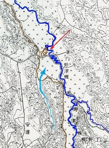 地形図 1916年測図1918年発行「月寒」 野津幌川「まるやま」付近蛇行
