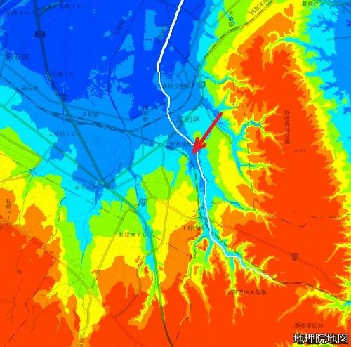 色別標高図 下野幌のっぽろがわ公園 野津幌川流域 広域