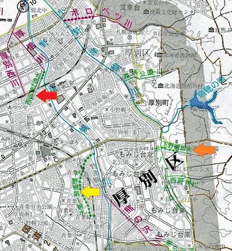 河川網図 野津幌川支流
